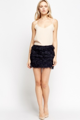 Eyelash Overlay Mini Skirt