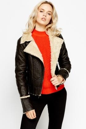 Faux Leather Fur Trim Jacket - Just £5