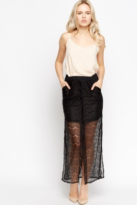 Lace Overlay Maxi Black Skirt