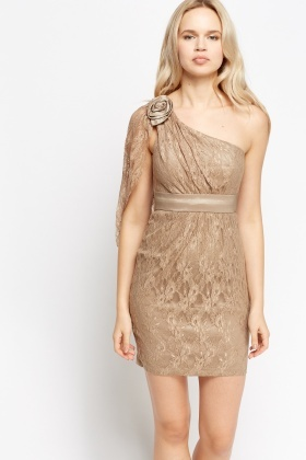 Lace Overlay One Shoulder Dress