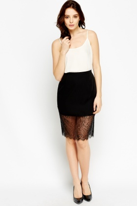 Lace Hem Black Skirt