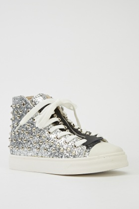 Studded Glittery High Top Trainers