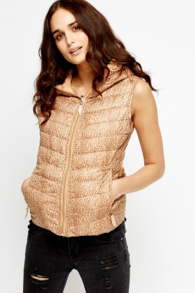 Animal Print Hooded Gilet