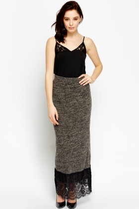Lace Hem Maxi Speckled Skirt