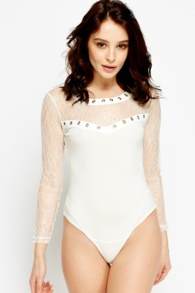Lace Insert Detailed Bodysuit