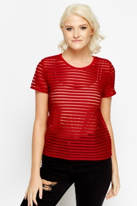 Mesh Stripe Maroon Top