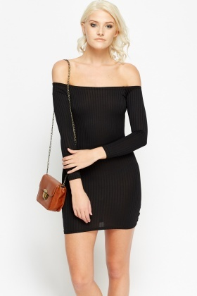 Off Shoulder Ribbed Bodycon Mini Dress