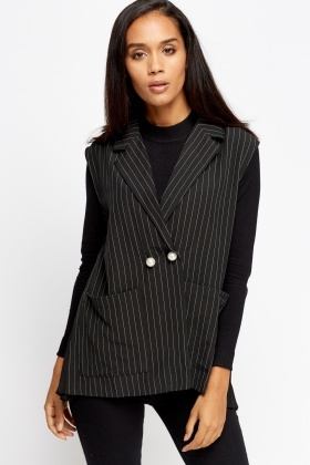 Pleated Back Sleeveless Stripe Blazer