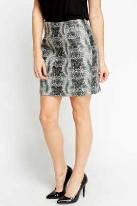 Animal Printed Quilted Faux Leather Skirt