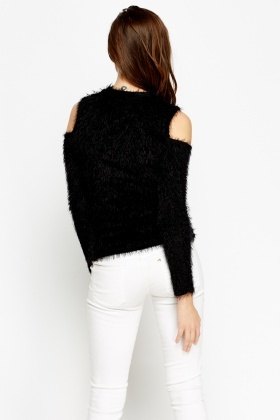 Black Eyelash Cold Shoulder Jumper