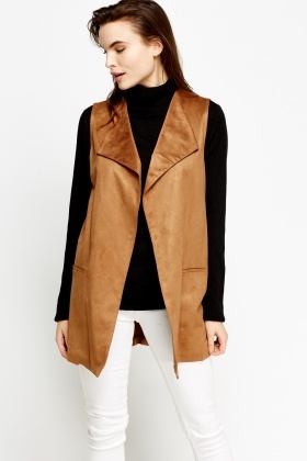 Brown Suedette Sleeveless Gilet