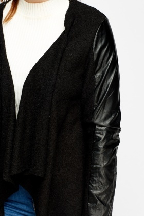 Faux Leather Sleeve Waterfall Jacket
