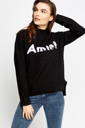 Logo Printed High Neck Sweater