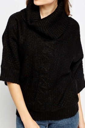 Metallic Cable knit Cowl Neck Jumper