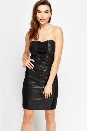 Sweetheart Bandeau Mock Croc Contrast Dress