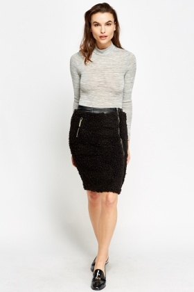 Teddy Bear Contrast Midi Skirt