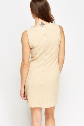 Textured Bodycon Chained embellished Neck Dress