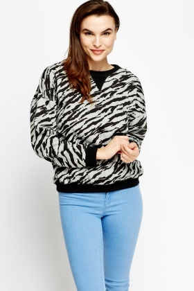 Zebra Print Diamante Jumper