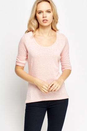 Basic Knitted Light Pink Top