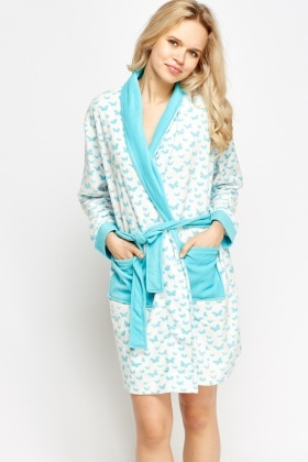 Butterfly Print Fleece Dressing Gown