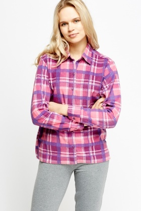 Checked Fleece Night Shirt