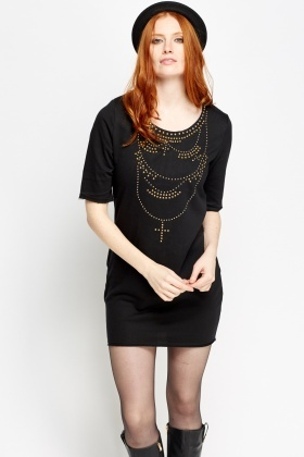 Necklace Detailed Studded Dress
