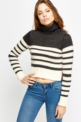 Turtle Neck Striped Cropped Jumper