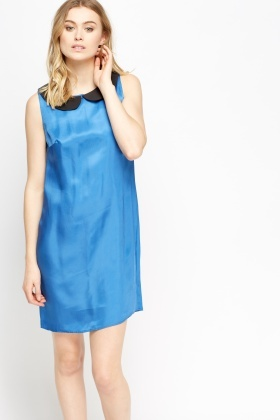 Blue Contrast Collar Dress