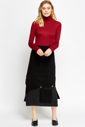 Bobble Knit Midi Front Pocket Skirt