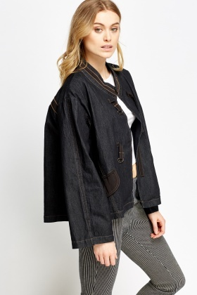 6186b3c734b7 Contrast Stitched Denim Jacket - Just £5