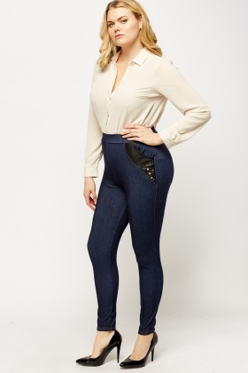 Faux Leather Pocket Jeggings