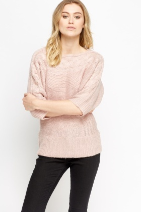 Metallic Cable Knit Casual Jumper