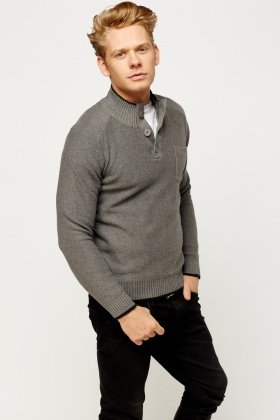 Pocket Front High Neck Jumper