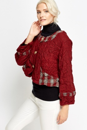 Crinkled Tartan Cropped Jacket