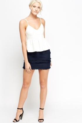 Fringe Trim Mini Skirt