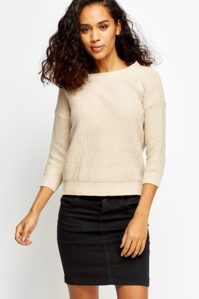 Zip Back Knitted Beige Jumper