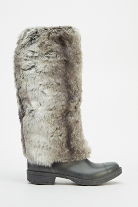 Faux Fur Contrast Knee High Boots