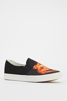 Tiger Flame Slip On Shoes