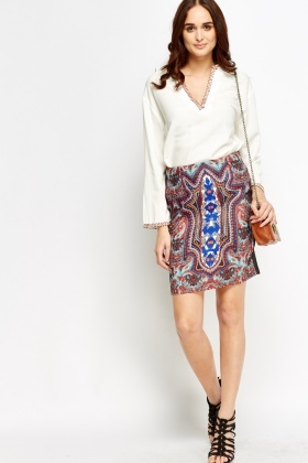 Mix Print Front High Waist Skirt