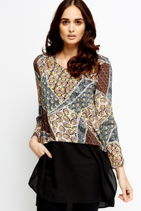 Mixed Print Bodice Sheer Hem Tunic