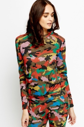 Multi Camouflage Sweater
