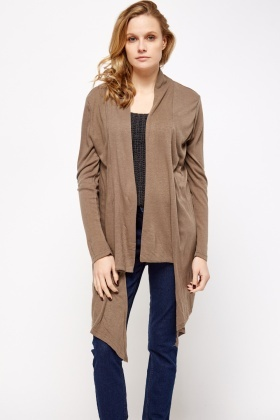 Asymmetric Side Open Cardigan