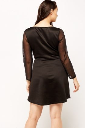 Mesh Insert Black Dress