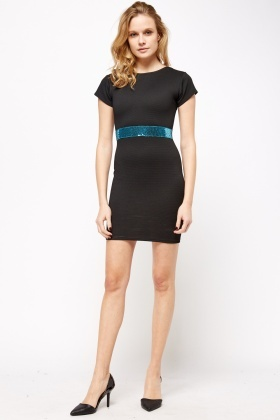 Sequin Waist Bodycon Dress