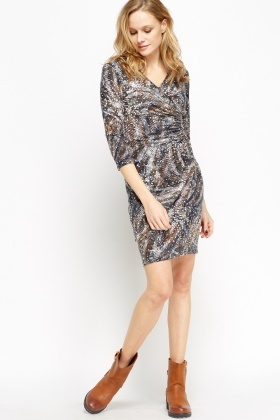 Wrap Front Mix Print Dress