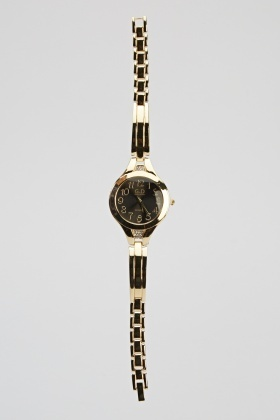Encrusted Detailed Metal Skinny Strap Watch