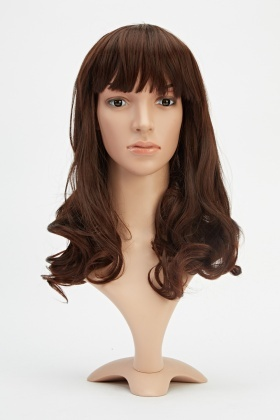 Mid Length Fringed Curled Wig