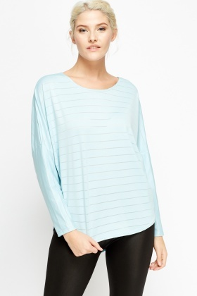 Aqua Thin Stripe Long Sleeve Top