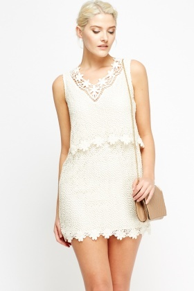 Crochet Overlay Cream Dress