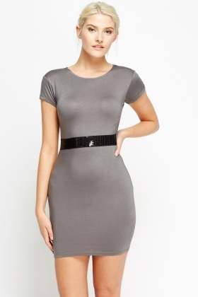 Sequin Front Band Bodycon Dress